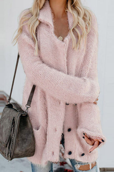 Allovely Solid Color Pocket Buttons Long Plush Coat