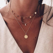 Allovely Long Chain Round Choker Necklace