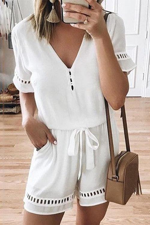 Allovely V-Neck Hollow-out Romper
