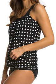 Allovely Dot Print Shoulder Tie Knot Tankini Set