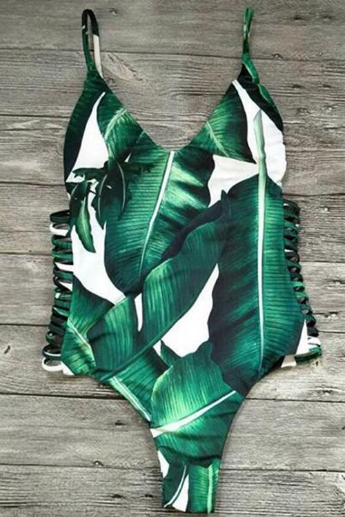 Allovely Leaves Print One Piece Tankini