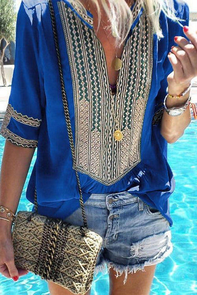 Allovely Ethnic Style V-Neck Tops