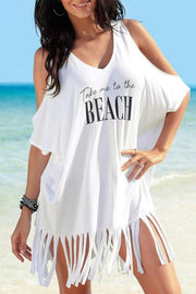 Allovely Tassel Letters Print Cover Up