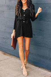 Allovely Casual Button Overall Romper