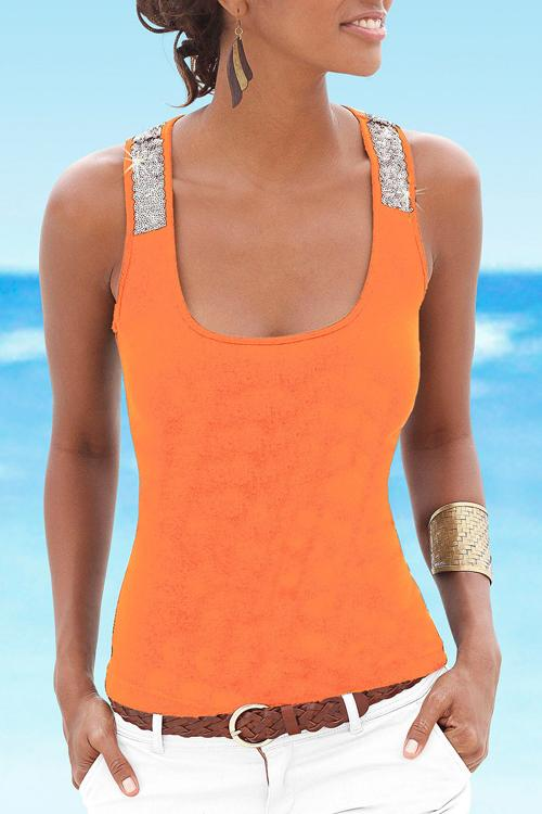 Allovely Slim Sequin Tank T Shirt