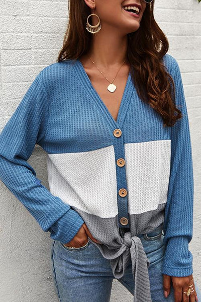 Allovely Splice Color Knot Button Sweater