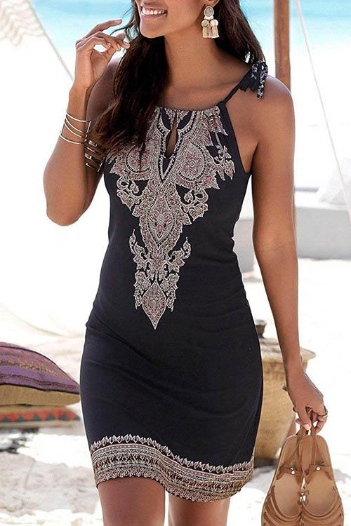 Allovely Bohemia Halter Neck Midi Dress