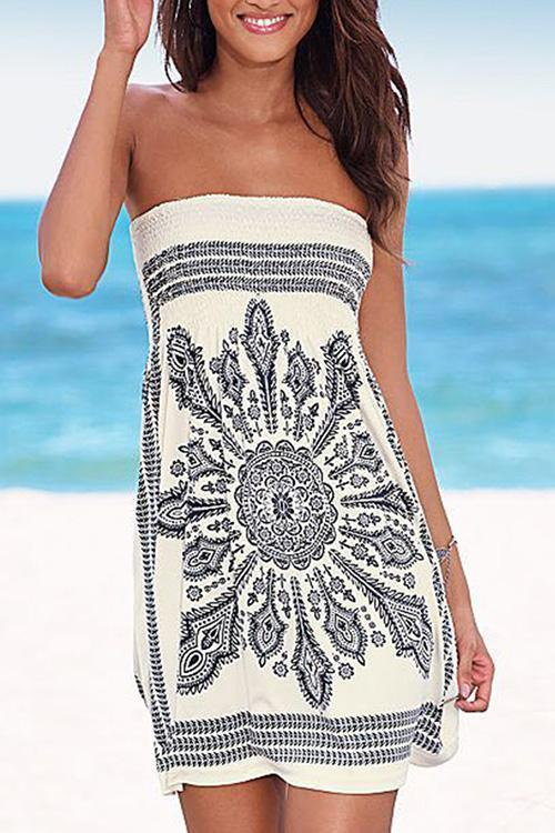 Allovely Bohemia Print Tube Dress
