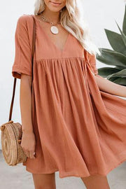 Allovely Loose V Collar Cotton Flax Fress