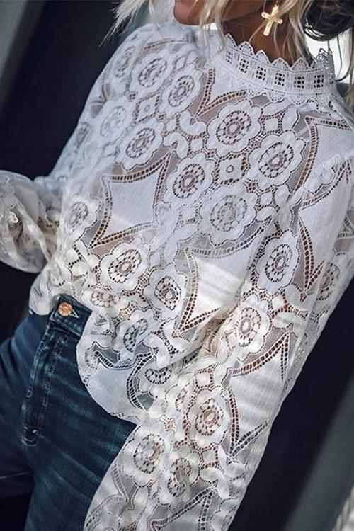 Allovely Floral See Through Lacework Top