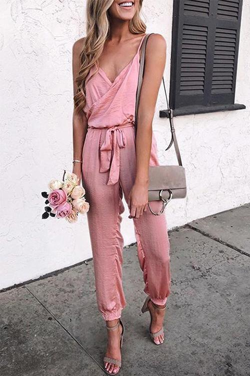 Allovely Spaghetti Straps Belted Jumpsuit