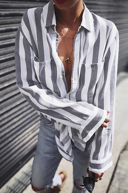Allovely Striped Long Sleeve Blouse