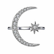 Allovely Star Moon Opening Ring