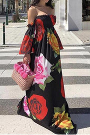 Allovely Floral Print Off Shoulder Maxi Dress