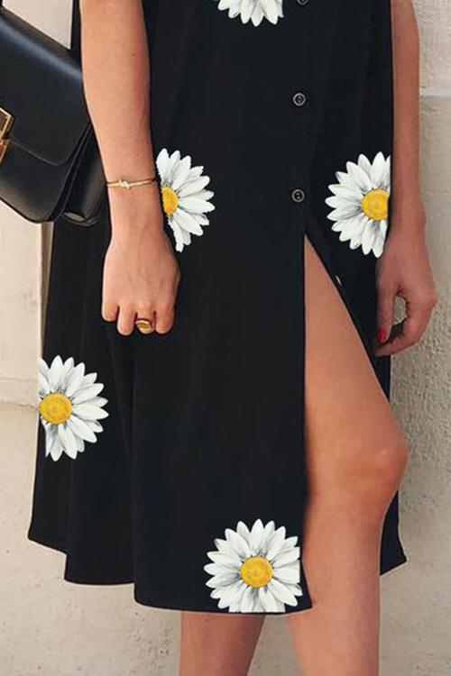 Allovely Black Floral Short Sleeve Dresses