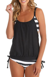 Allovely Striped Splicing Spaghetti Strap Sexy Tankini
