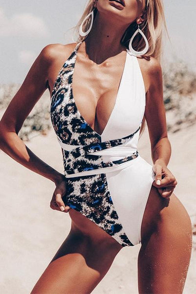 Allovely Leopard Print Bandage One-piece Swimwear