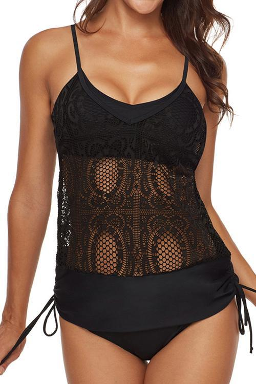 Allovely Sexy Embroidered Sheer Mesh Lace Straps Tankini