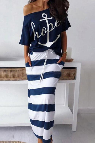 Allovely Boat Anchor Print Off Shoulder Top & Stripy Skirt