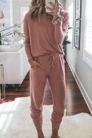 Allovely Casual Round Neck Sports Jumpsuit Suit