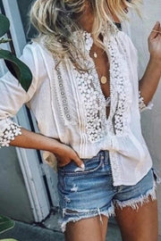 Allovely Lace Flowers Embellished Deep V Loose Shirt