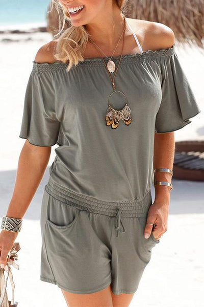 Allovely Comfy Off Shoulder Pocket Romper