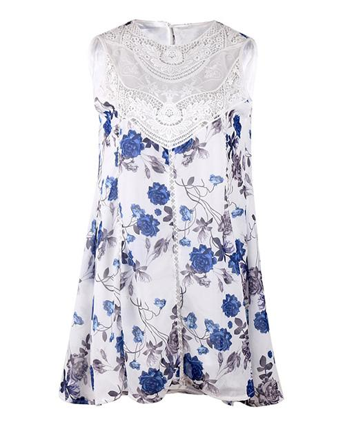 Allovely Lacework Splicing Chiffon Dress