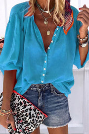 Allovely Button Down Loose Blouse(4 Colors)