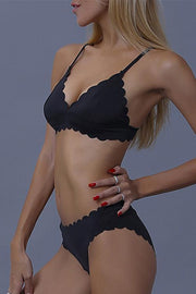 Allovely Black Scalloped Bikini
