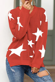 Allovely Star Print V Neck Loose Sweater