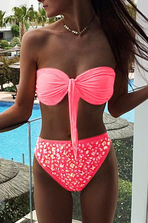 Allovely Tie Front Bandeau Bikini Set
