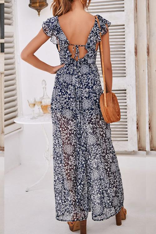Allovely Floral Chiffon Ruffles Jumpsuit