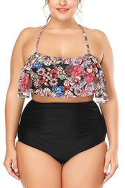 Allovely Flora Print Halter Neck Bikini