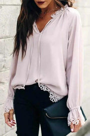 Allovely Chiffon Flower Hollow-out Edges Lace-up Loose Shirt