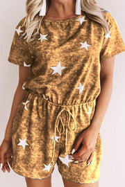 Allovely Starry Elastic Waist Loose Romper