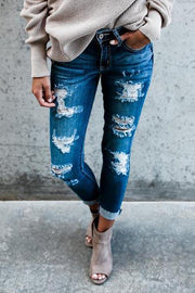 Allovely Ripped Slim-fitting Jeans