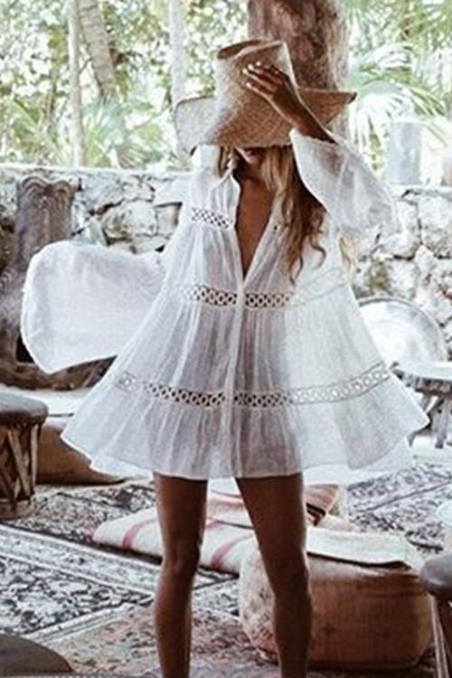 Allovely Leisure Crochet Button Down Short Cover Up