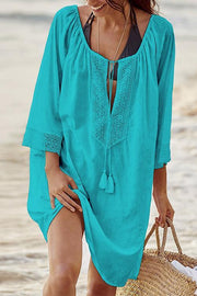 Allovely Bohemia Front Lace-up Loose Casual Cover Up