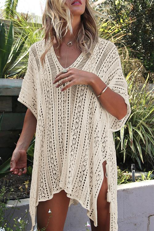 Allovely See-through Crochet Hollow Irregular Cover Up
