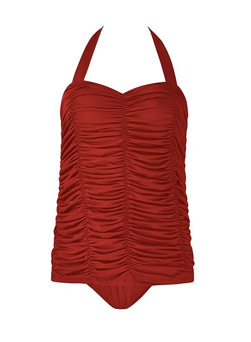 Allovely Stylish Ruched Backless Tankini