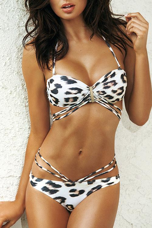 Allovely Leopard Print Push Up Spaghetti Straps Bikini