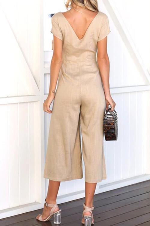 Allovely Deep V Button Down Jumpsuit