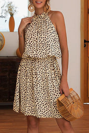 Allovely Spring Printed Halter Neck Dress