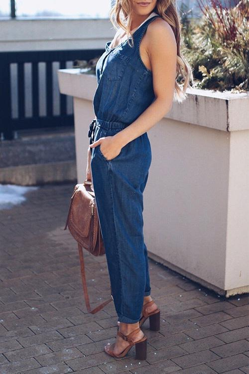 Allovely Denim Slim Jumpsuit