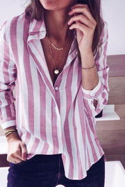 Allovely Stripe Button Down Blouse