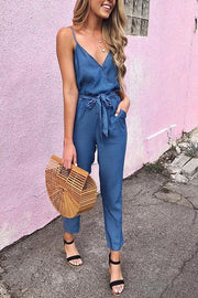 Allovely Denim Belted Spaghetti Straps Jumpsuit