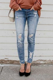 Allovely Denim Ripped Pencil Trousers