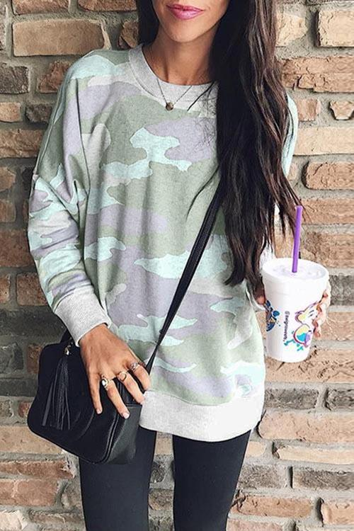 Allovely Camouflage Print T-shirt