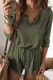 Allovely Elastic Waist Casual Romper