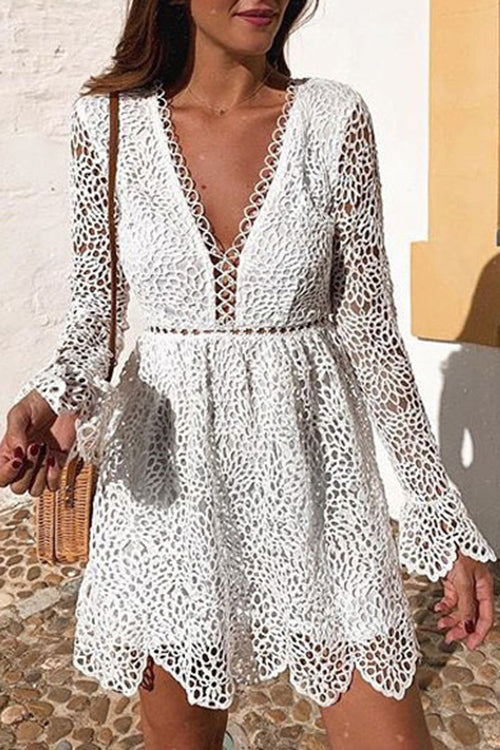 Allovely V Neck Lace Cutout Dress